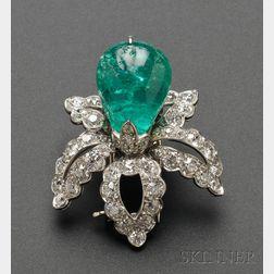 Platinum and Emerald Flower Clip/Brooch, Cartier Monture