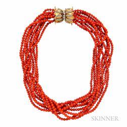 Coral Bead Torsade Necklace