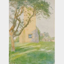 George Harvey (British/American, 1800-1878)      The Parish Church of St. John the Baptist, Wickhamford, Worcestershire, England