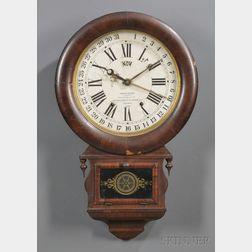 Rosewood Ansonia Brass and Copper Co. Calendar Clock