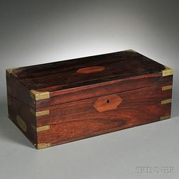 Inlaid Brass-bound Rosewood Box and Thirty-six Silver Articles