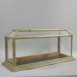 Pewter and Beveled Glass Casket-form Display Case
