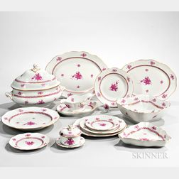 "Sixty-four-piece Herend ""Chinese Bouquet"" Pattern Porcelain Dinner Service"