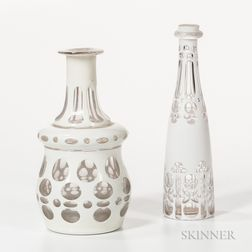 White Overlay Decanter and Cologne Bottle
