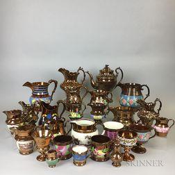 Twenty-six Copper Lustre Ceramic Vessels.     Estimate $20-200