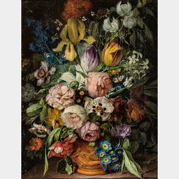 Attributed to Joseph Fleck (Austrian/American, 1892-1977)      Ornate Floral Still Life
