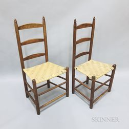 Two Country Maple Ladder-back Side Chairs