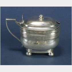 George III Silver and Amethyst Glass Mustard Pot