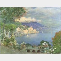 Luigi Paolillo (Italian, b. 1864)  Amalfi by the Setting Sun