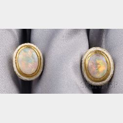 Antique 18kt Gold, Opal, and Enamel Earrings