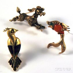 Three 14kt Gold Animal Pins