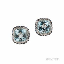 14kt White Gold, Blue Topaz, Sapphire, and Diamond Earrings, Encore by LeVian