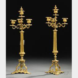 Pair of Bronze Dore Three-light Candelabra