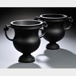 Pair of Wedgwood Black Basalt Knot-handled Vases