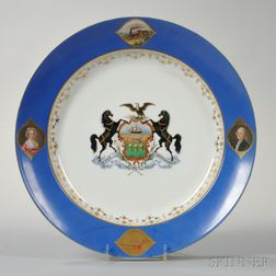 Porcelain Charger with Pennsylvania Coat of Arms