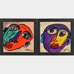Peter Robert Keil (German, b. 1942)    Two Works:  Purple Face