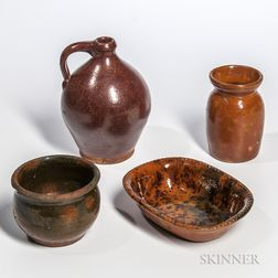Four New England Redware Table Items