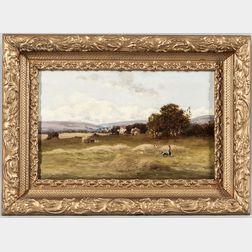 William Charles Rushton (British, 1860-1921)      Girl and Dog Watching the Haying
