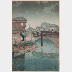 Kawase Hasui (1883-1957), Rain at Shinagawa