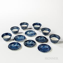 "Six Staffordshire Historical Blue Transfer-decorated ""Landing of Lafayette"" Cups and Saucers"