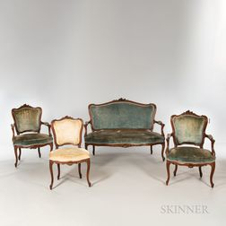 Louis XV-style Carved Walnut Four-piece Suite