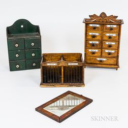 Two Spice Boxes, a Small Framed Mirror, and a Letter Box
