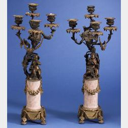 Pair of Louis XV-style Patinated Bronze and Marble Four Light Candelabra