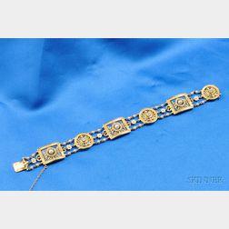 Antique 18kt Gold, Enamel, Pearl, and Diamond Bracelet, Lucien Gautrait