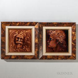 Two Framed International Tile and Trim/Kensington Art Tile Co. Art Pottery Portrait Tiles