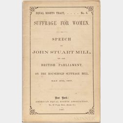 Mill, John Stuart (1806-1873) Equal Rights Tract No. 6 Suffrage for Women.
