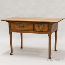 Country Walnut Two-drawer Tavern Table