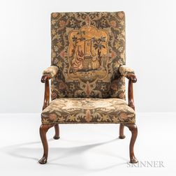 George I Needlework-upholstered Walnut Open Armchair
