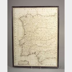 Decorative Map of Spain, Part Occidentale Della Spagna