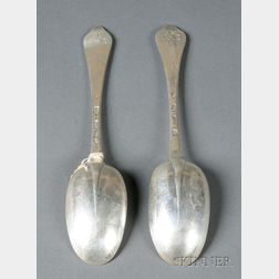 Near Pair of Queen Anne Dog-nose Silver Tablespoons