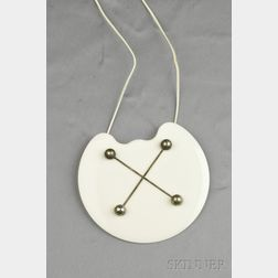 Plastic and Silvertone Metal Pendant Necklace, Gio Pomodoro, Gem Montebello