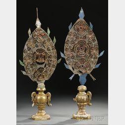 Pair of Painted Tin and Giltwood Ornaments
