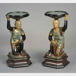 Pair of Carved and Polychrome Painted Wood Figural Stands
