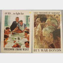 Two WWII Norman Rockwell Lithograph Freedoms Posters