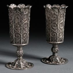 Pair of Russian .875 Silver Filigree Goblets