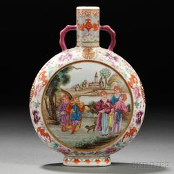 Famille Rose Moonflask with European Figures