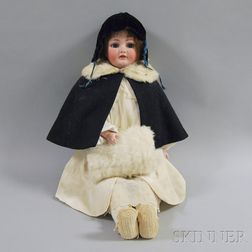 Large Franz Schmidt Bisque Shoulder Head Girl Doll
