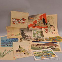 Thirteen Assorted Woodblock Prints
