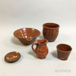 Five Redware Pottery Tableware Items