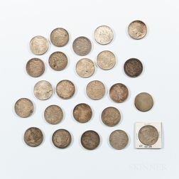 Twenty-three Morgan and Peace Dollars