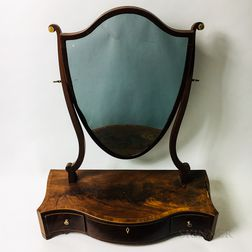 Federal Inlaid Mahogany Shield-form Serpentine-front Shaving Mirror