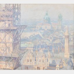 Charles Johann Palmié (German, 1863-1911)      Rooftops in Munich