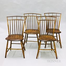 Set of Four Bamboo-turned Windsor Side Chairs