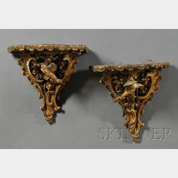 Pair of Chippendale Gilt Composition Wall Brackets