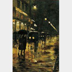 Lesser Ury (German, 1861-1931)      Rainy Night, Berlin