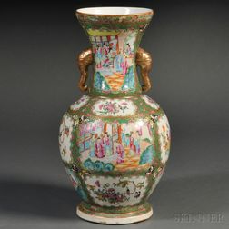 Large Famille Rose Chinese Export Porcelain Vase with Elephant-head Handles